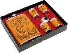 Металлическая посуда - Подарочный набор «Лучший рыбак» Фляжка, 4 рюмки, воронка
