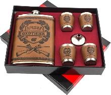 Металлическая посуда - Подарочный набор «Лучший охотник» Фляжка, 4 рюмки, воронка