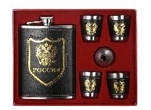 Металлическая посуда - Подарочный набор «Россия» Фляжка, 4 рюмки, воронка