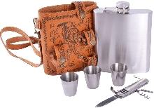 Металлическая посуда - Подарочный набор с флягой для мужчин «Волк»