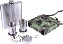 Металлическая посуда - Подарочный набор с флягой для мужчин «Воин»